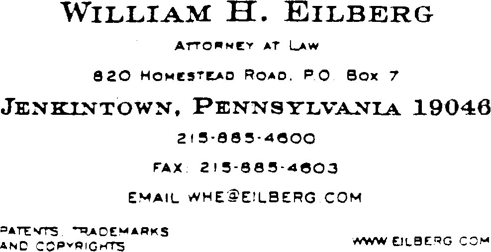 Tmep picture of business card of william h eilberg attorney at law 820 homestead yelopaper Choice Image