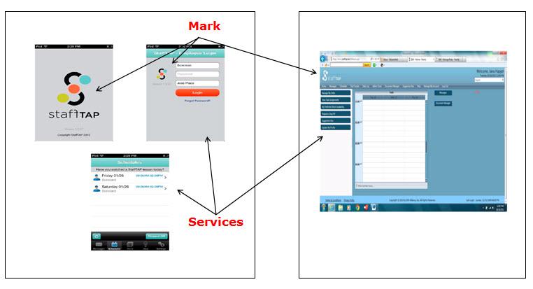 StaffTap主屏幕和登录屏幕的屏幕截图,其中包含用于登录的填写字段,而日程表屏幕则显示了周五和周六的日程表。 右侧显示了StaffTap的屏幕截图,其中显示了用于安排任务的日期和时间网格以及用于利用软件服务的人员管理功能的菜单选项。