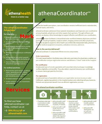 AthenaCoordinator网页的屏幕快照,广告医师订单支持,医疗实践管理和计算机服务。