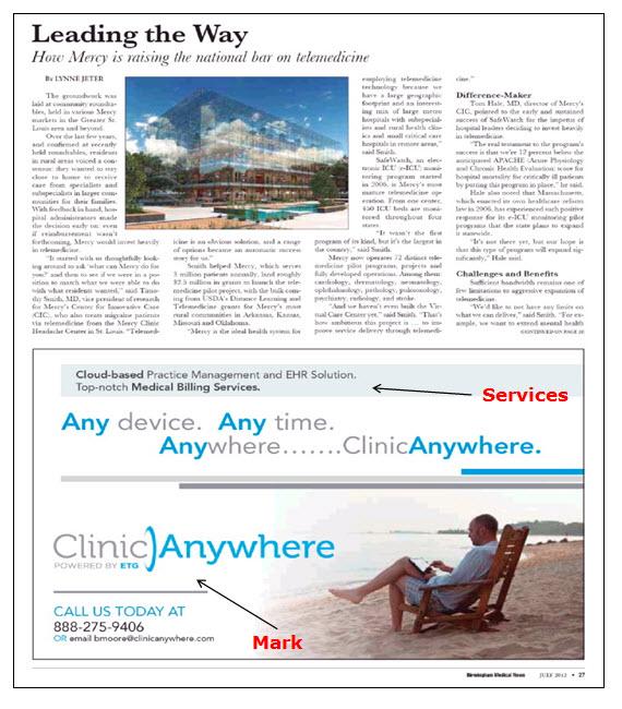 用于医疗计费和计算机软件服务的ClincAnywhere广告的屏幕快照。