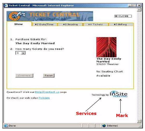 """票务中心网页的屏幕截图,其中显示了申请者提供的服务提供者服务的商标""""现场票务""""。"""