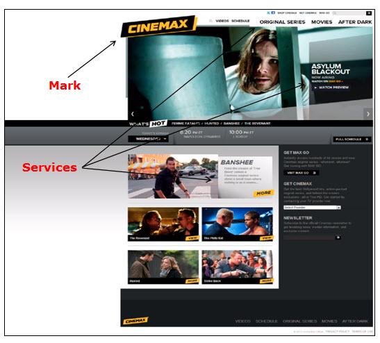 Cinemax网页广告的各种电视节目的屏幕截图。