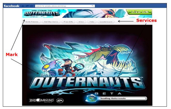 Facebook网页的屏幕截图,在视频游戏的启动屏幕上显示申请人的标记Outernauts。
