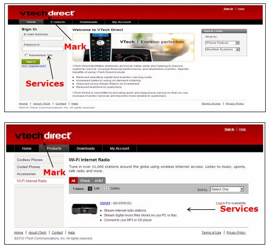 上图:Vtech Direct网页的屏幕快照,其中包含用于登录和访问在线企业对企业商店服务的登录字段。 下图:宣传在线企业对企业商店服务的Vtech Direct网页的屏幕快照。