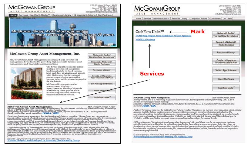 左:McGowan Group页面的屏幕截图,显示了由McGowan Group Asset Management公司提供的用于金融服务的申请人标记的CashFlow Units。 右:McGowanGroup网页的屏幕快照,显示紧接在两个文档链接上方的申请人标记的CashFlow Units,一个文档用于MGAM Wrap计划资产酌情咨询协议,另一个文档用于MGAM RIA披露。
